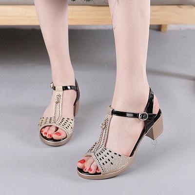 Glitter Rhinestone Buckle Peep Toe Summer Chunky Sandals_8
