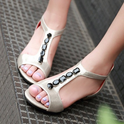 Rhinestone PU Daily Peep Toe Zipper Summer Sandals_5