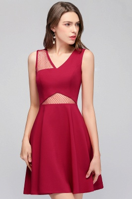 Cheap A-line Sleeveless Short V-neck Tulle Neckline Homecoming Dress in Stock_8