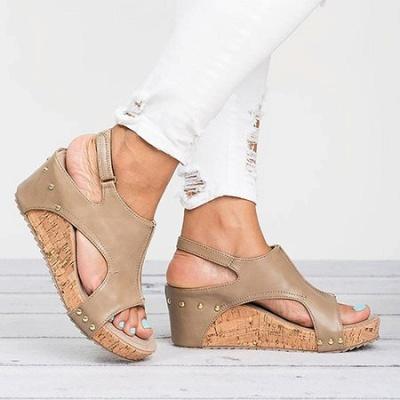 Peep Toe PU Blocking Hook-Loop Wedge Sandals_3