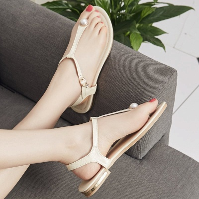 Flip-flops Imitation Pearl Daily Summer Buckle Sandals_7