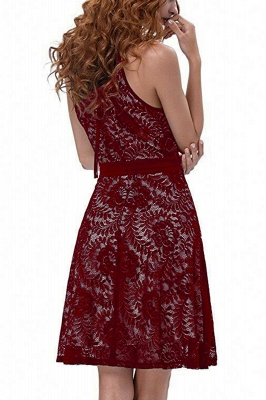 Women's Halter Floral Lace Cocktail Party Dress Homecoming Dress_15