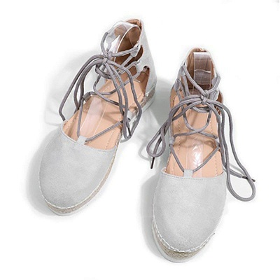 Espadrilles Lace-up Hollow Out Round Toe Suede Sandals_11