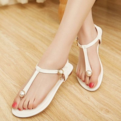 Flip-flops Imitation Pearl Daily Summer Buckle Sandals_12