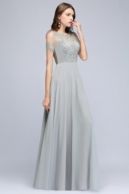 A-Line Appliques Scoop Beaded Silver Cheap Cold-Shoulder Bridesmaid Dresses_2