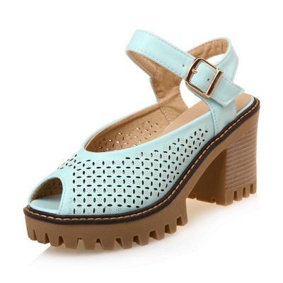Peep Toe Platform Buckle Daily Chunky Sandals_3