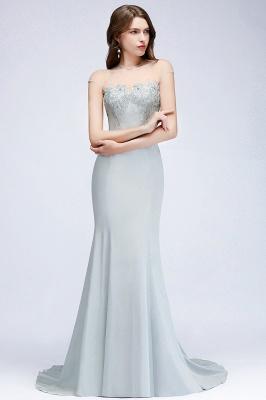 Elegant Cap-Sleeves Beading Sheer-Neck Mermaid Bridesmaid Dresses_3