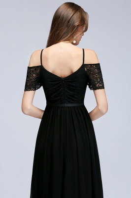 Cold-Shoulder Black  Sexy Short-Sleeves Lace Evening Dress_3