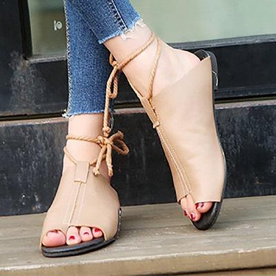 Braided Strap Daily Flat Heel Sandals_10