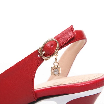 Summer Buckle PU Dress Peep Toe Chunky Sandals_10