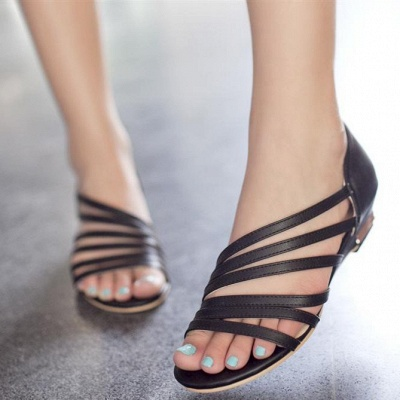 Hollow-out Daily Summer Peep Toe Wedge Sandals_3
