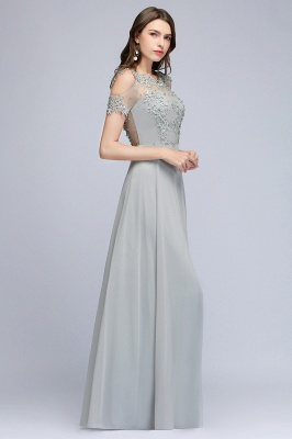 A-Line Appliques Scoop Beaded Silver Cheap Cold-Shoulder Bridesmaid Dresses_6