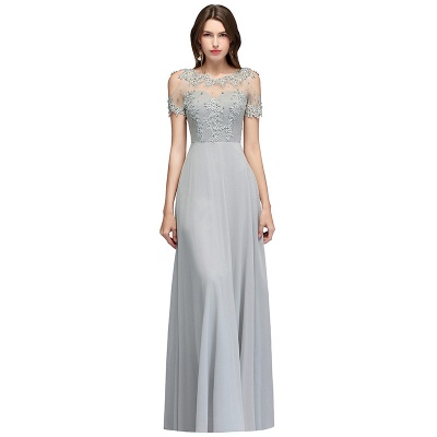 A-Line Appliques Scoop Beaded Silver Cold-Shoulder Bridesmaid Dresses_4
