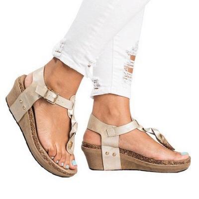 Summer Daily PU Braided Strap Sandal_4