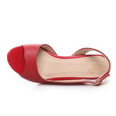 Summer Buckle PU Dress Peep Toe Chunky Sandals_9