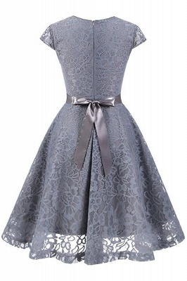 Women's Vintage 1950s Short Sleeve A-Line Cocktail Party Swing Dress with Floral Lace_5