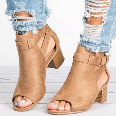 Daily Zipper Hollow-out Summer Open Toe Chunky Sandals_1