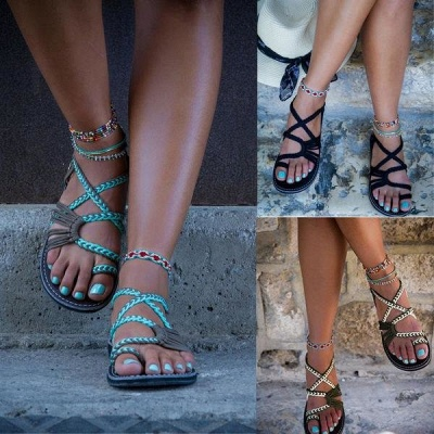 Summer Handmade Breathable Bandage Beach Flat Sandals cpa1110_5