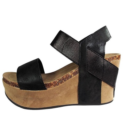 Double Straps Daily PU Peep Toe Wedge Sandals_14