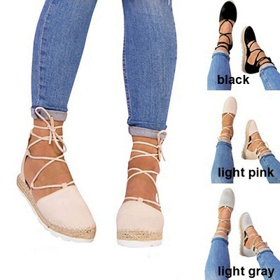 Espadrilles Lace-up Hollow Out Round Toe Suede Sandals_12