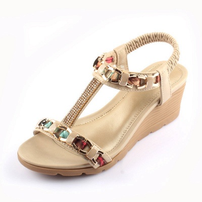 Rhinestone Date Chain Hollow-out Women Summer Wedge Sandals_1