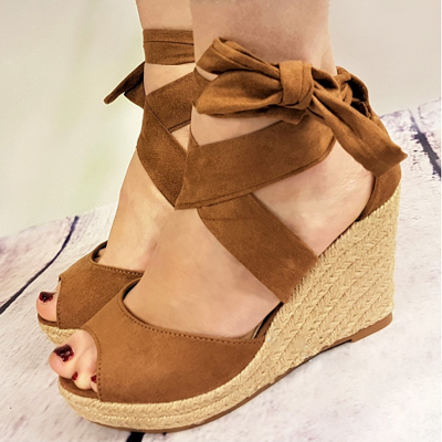 Espadrilles Bowknot Peep Toe Summer Wedge Sandals_1
