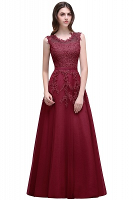 A-line Floor-length Tulle Prom Dress with Appliques_3