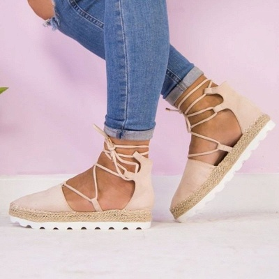 Espadrilles Lace-up Hollow Out Round Toe Suede Sandals_5