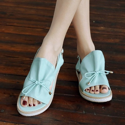 Peep Toe Bowknot Comfortable Summer Hollow-out Casual Sandals_5