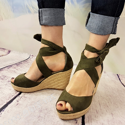 Espadrilles Bowknot Peep Toe Summer Wedge Sandals_8