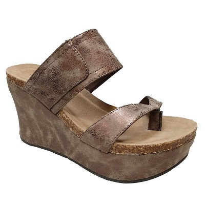 Large Size Slip On Thong Wedge Wedge Sandals_1