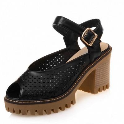 Peep Toe Platform Buckle Daily Chunky Sandals_4