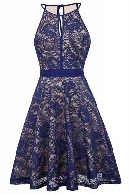 Women's Halter Floral Lace Cocktail Party Dress Homecoming Dress_2