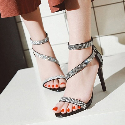 Rhinestone Cocktail Sparkling Glitter Zipper Stiletto Sandals_11