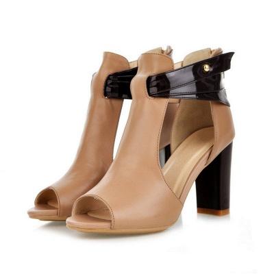 Hollow-out Peep Toe Zipper Summer Chunky Sandals_4