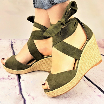 Espadrilles Bowknot Peep Toe Summer Wedge Sandals_3
