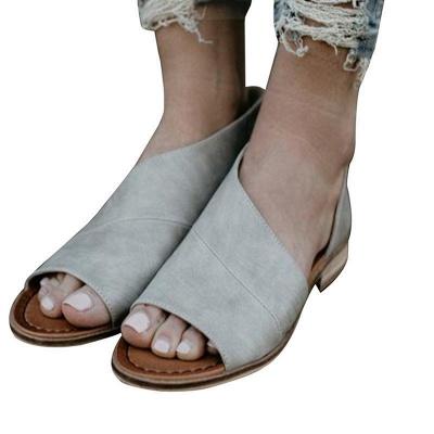 Peep Toe PU Daily Summer Chunky Sandals_8