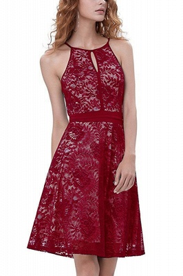 Women's Halter Floral Lace Cocktail Party Dress Homecoming Dress_16