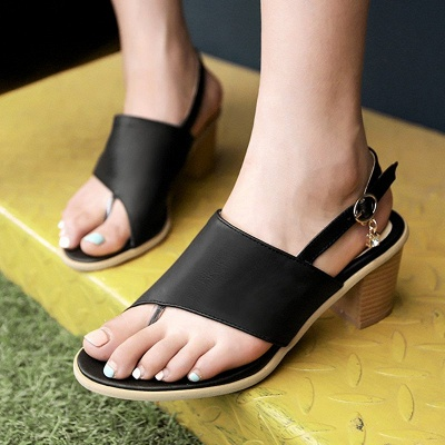 Buckle Hollow-out Flip-flops Chunky Sandal_8