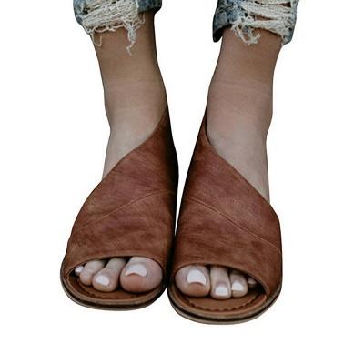 Peep Toe PU Daily Summer Chunky Sandals_1