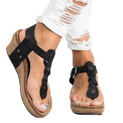 Summer Daily PU Braided Strap Sandal_18