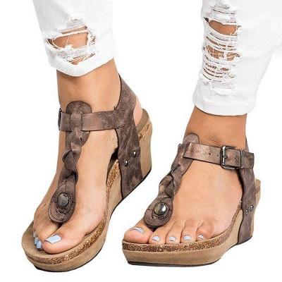Summer Daily PU Braided Strap Sandal_12