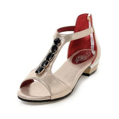 Rhinestone PU Daily Peep Toe Zipper Summer Sandals_2