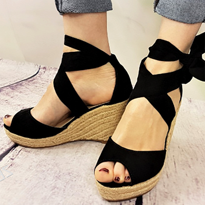 Espadrilles Bowknot Peep Toe Summer Wedge Sandals_2