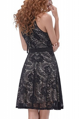 Women's Halter Floral Lace Cocktail Party Dress Homecoming Dress_14