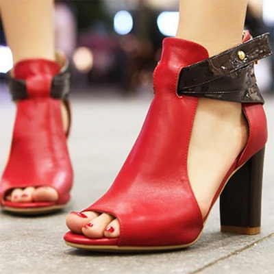 Hollow-out Peep Toe Zipper Summer Chunky Sandals_1