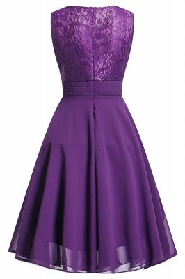 Women's Vintage Sleeveless Ruffles Belt Floral Lace Bridesmaid Chiffon Dress_6