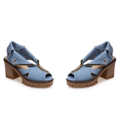 Denim Peep Toe Platform Women Chunky Sandals_1