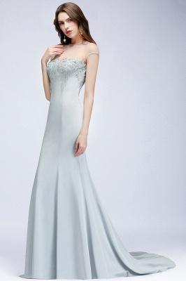 Elegant Cap-Sleeves Beading Sheer-Neck Mermaid Bridesmaid Dresses_4