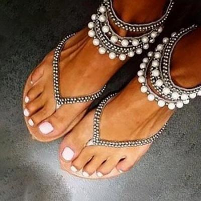 Beach Rhinestone Imitation Pearl Flip-flops_3
